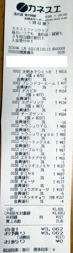 カネスエ 浅井店 2020/1/6 のレシート