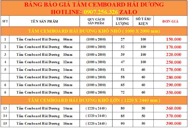 Bảng báo giá tấm xi măng Cemboard Việt Nam - Tấm Fiber Hải Dương