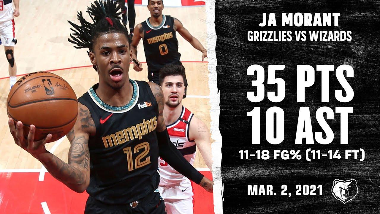 Ja Morant 35pts 10ast vs WAS | March 2, 2021 | 2020-21 NBA Season