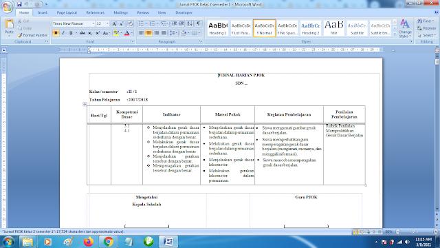 Contoh Format Jurnal Harian PJOK Kelas 2 SD Semester 1 k13 Revisi Terbaru