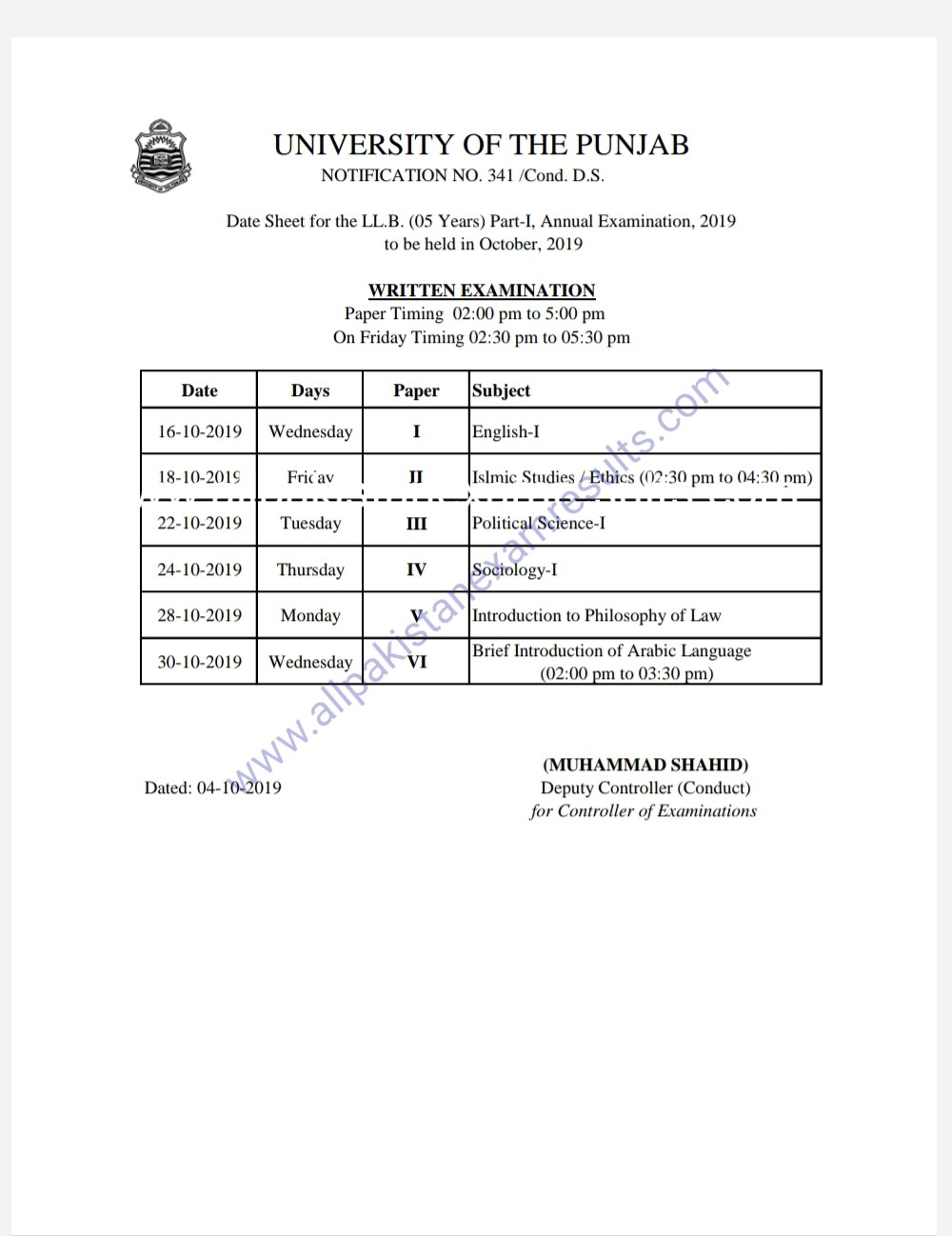 date sheet llb pu lahore part 1 2019