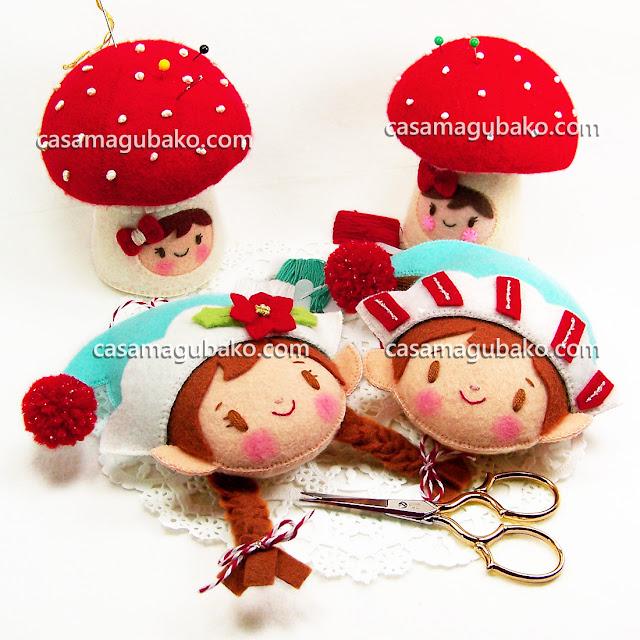 Elf Ornaments and Mushroom Pincushions by casamagubako.com