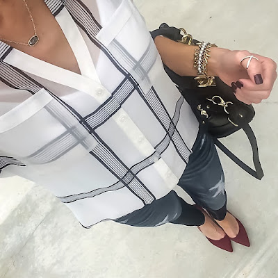 Express Plaid Portofino Shirt, Distressed Jeans, Sole Society Jillian Pumps, Danielle Nicole Handbag, Kendra Scott Elisa Drusy pendant