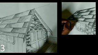 Adding darker shades and giving realistic texture of wood to the house by using graphite pencils
