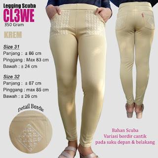 Celana legging polos bahan scuba variasi bordir cantik model terbaru