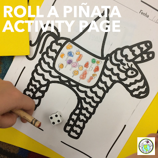Roll a piñata Activity Page in Spanish and English