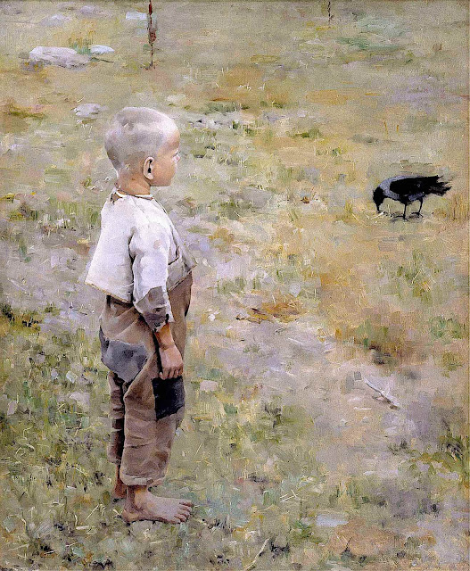 an1884 Akseli Gallen-Kallela painting of a boy and a crow