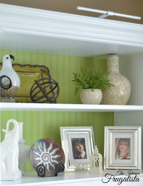 Chalk Painted Lime Green Bookcase Back
