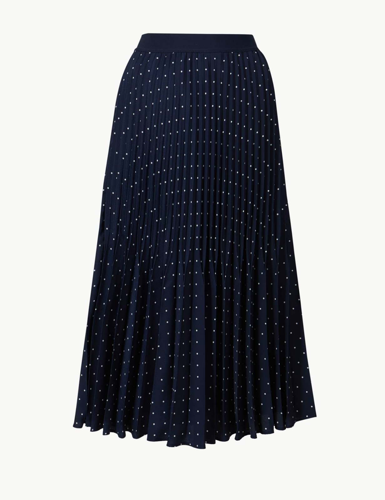 marks and spencer polka dot pleated midi skirt