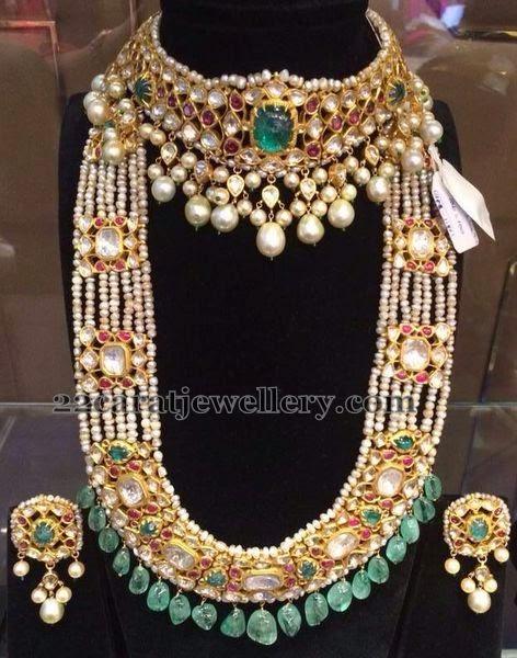 Pearls Mala And Kundan Choker Jewellery Designs