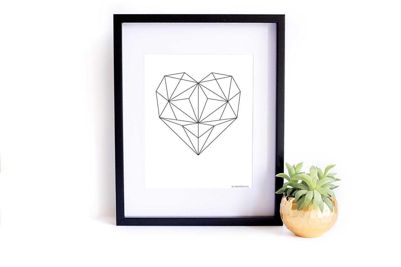 Miłosny plakat do druku do pobrania - Archistacja Geometryczne Serce