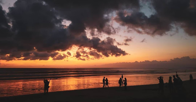 pictures sunset kuta beach bali