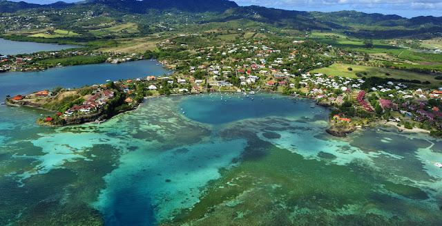 Vue aérienne Martinique, plage, habitation, paysage