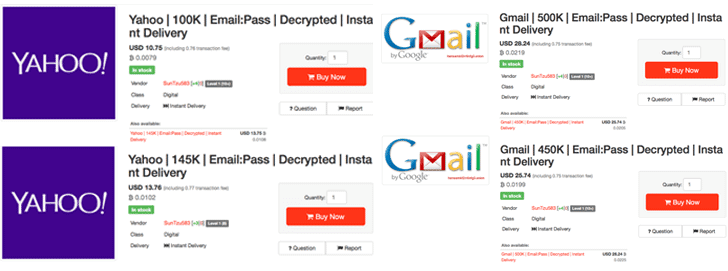 Hacker Selling Over 1 Million Decrypted Gmail and Yahoo Passwords On Dark Web