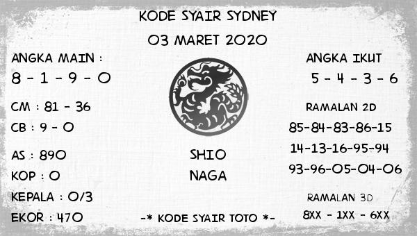 Prediksi Togel Jitu Sidney Selasa 03 Maret 2020 - Kode Syair Toto
