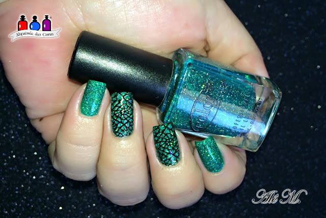 Color Club, Holiday Splendor, Sugar Bubbles, SB040, La Femme, Preto, Carimbado, Jelly, Verde, Glitter Holográfico