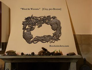Wind and Wisteria shown in clay as if it were bronze sculpture