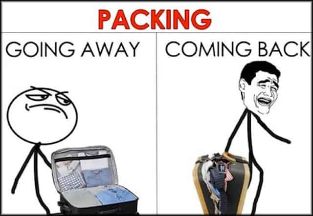 Packing before your journey vs when coming back