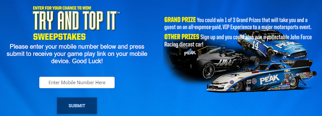 Peak Auto is giving away three grand prizes all-expenses paid trips with VIP experiences to a major motorsports event and some other great prizes, too!