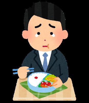 泣きながらお弁当を食べる人のイラスト(男性会社員)
