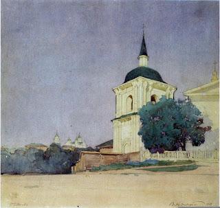 Полтава. Свято-Николаевская церковь. Колокольня 1784 г. Акварель Василия Кричевского