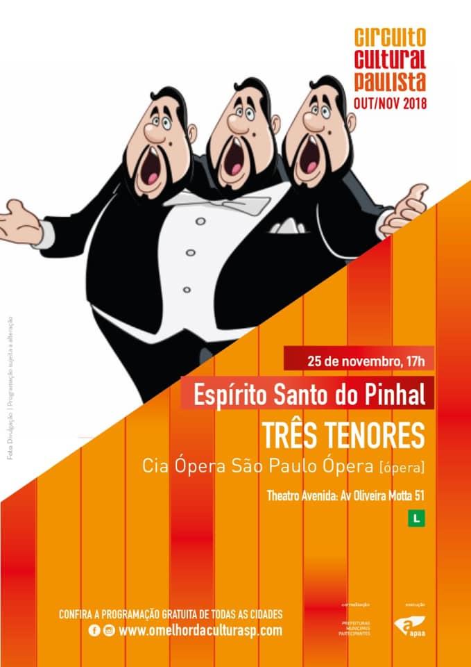 Ópera Três Tenores tem apresentação gratuita em Espírito Santo do Pinhal