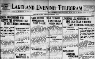 Screengrab of front page of Lakeland  Evening Telegram newspaper of  Dec. 31, 1920