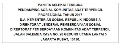 Lowongan Kerja Kementerian Sosial RI Tahun 2017