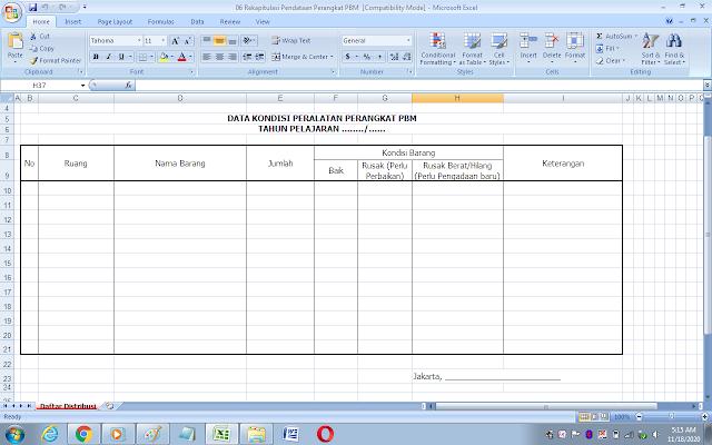 Format data kondisi peralatan perangkat proses belajar mengajar