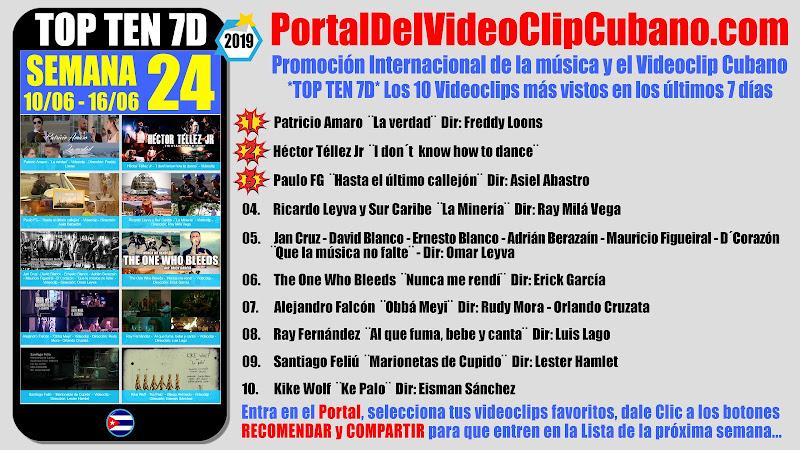 Artistas ganadores del * TOP TEN 7D * con los 10 Videoclips más vistos en la semana 24 (10/06 a 16/06 de 2019) en el Portal Del Vídeo Clip Cubano