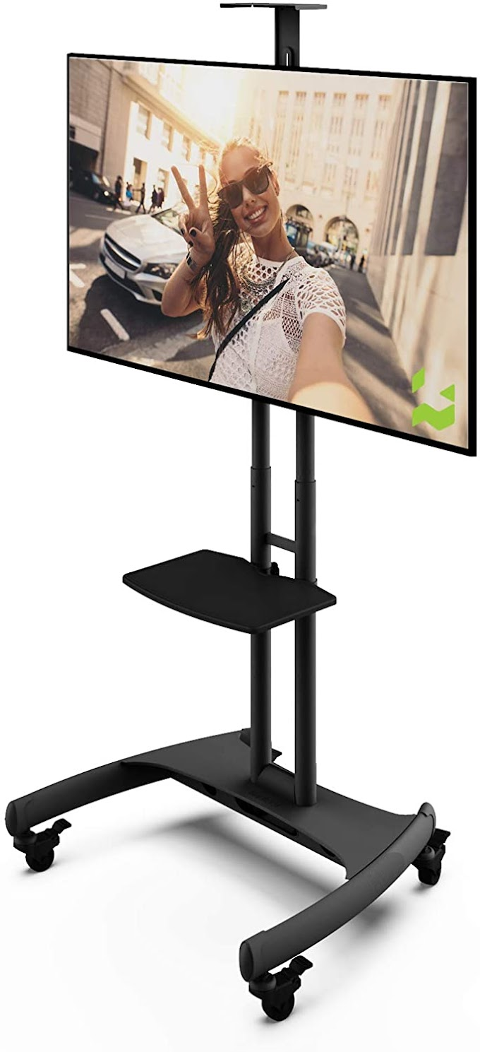 Kanto MTM65PL Height Adjustable Mobile TV Stand with Adjustable Shelf for 37-inch to 65-inch TVs   Supports up to 80 lb Total   Integrated Cable Management  