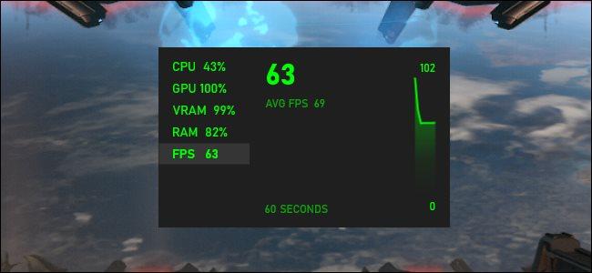 عداد FPS في Xbox Game Bar في Windows 10.
