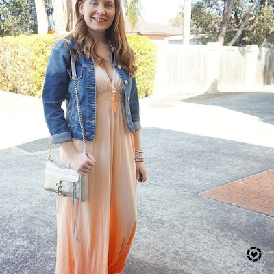 awayfromblue instagram spring ombre gypsy 05 maxi dress outfit with denim jacket