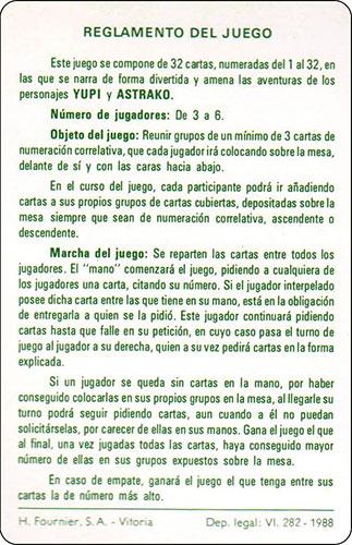 Baraja Los mundos de Yupi Carta Reglamento 2