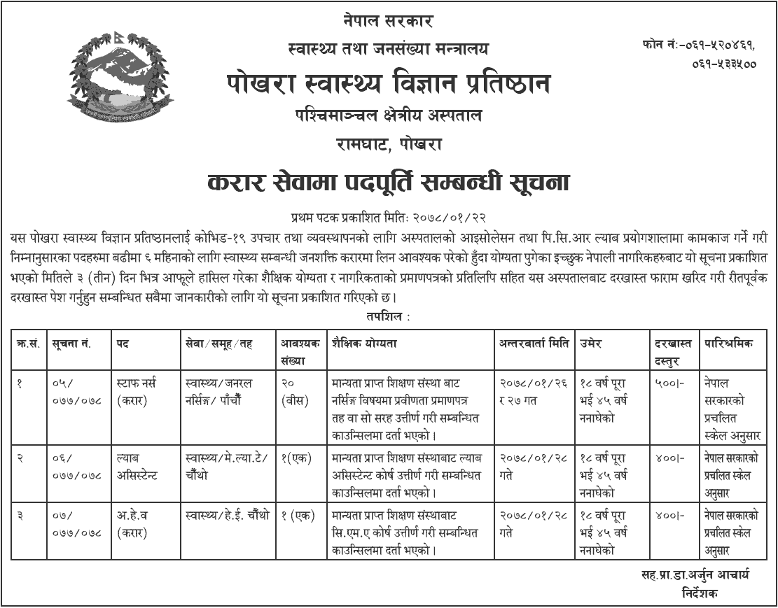 Pokhara Academy of Health Sciences (PAHS) Job Vacancy for Staff Nurse, Lab Assistant and AHW