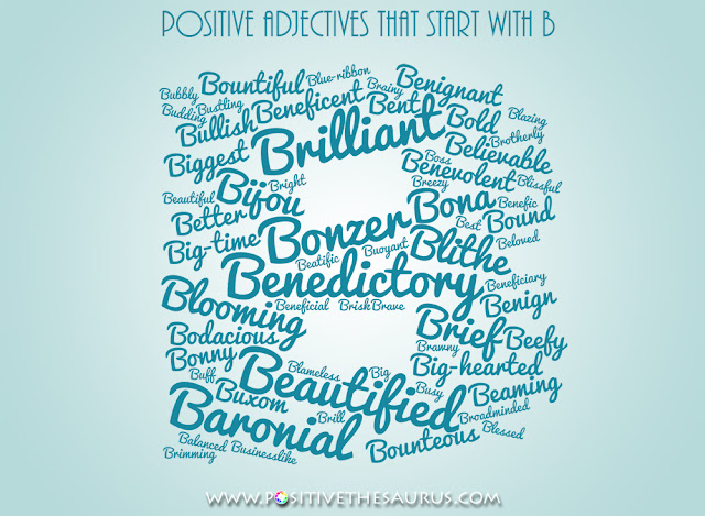 positive adjectives that start with b word cloud