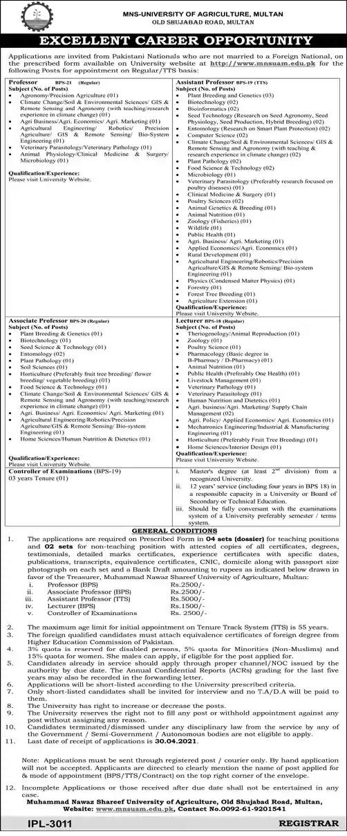 New Jobs in Pakiastan Muhammad Nawaz Shareef University of Agriculture Multan Jobs 2021 | Application Form