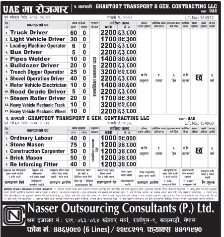 Jobs For Nepali In U.A.E. Salary -Rs.92,000/