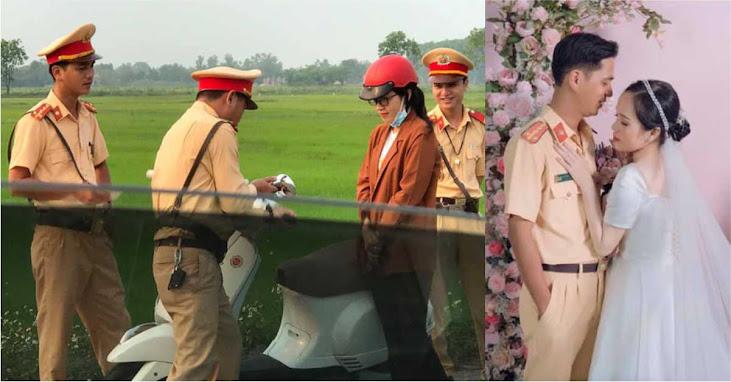 Bị xử lý vi phạm giao thông, hơn 1 năm sau cô gái cưới luôn... anh cảnh sát