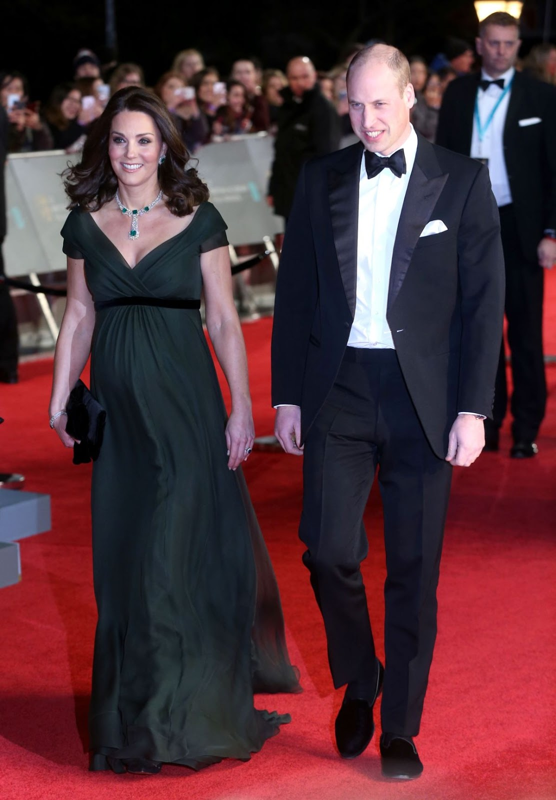 Pregnant KATE MIDDLETON at BAFTA Film Awards 2018 in London