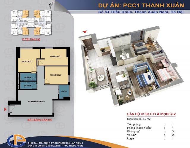 Mặt bằng căn hộ số 01 - 08 diện tích 80,45m2 chung cư PCC1 - 44 Thanh Xuân