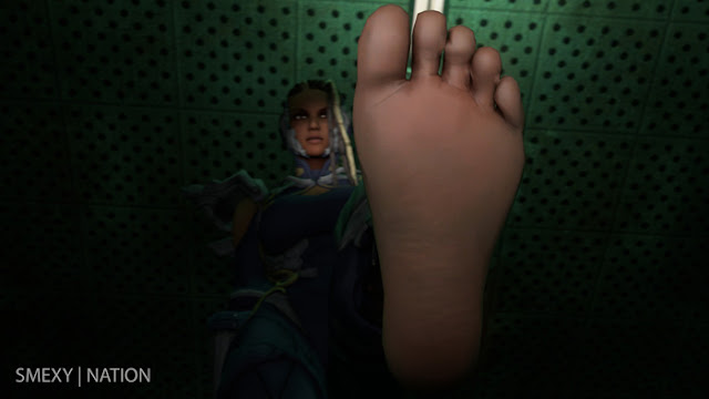 pov of giantess Master Raven feet
