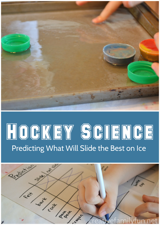 What slides better on ice? Find out in this fun hockey science experiment for kids.