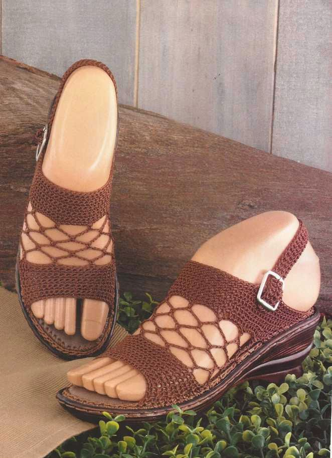 Sandalias en malla a Crochet