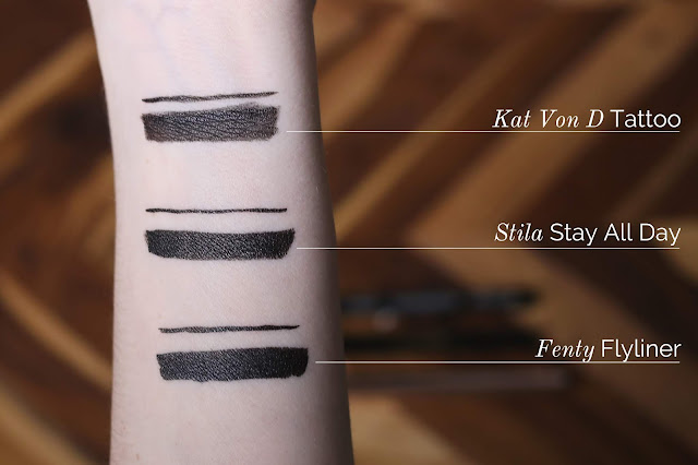 on-arm swatches of stay all day tattoo and flyliner stila kat von d fenty
