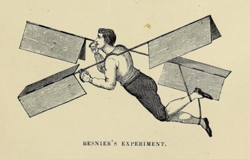 Woodcut of a man in an unlikely-looking flying device, from Through the Air by John Wise, 1873