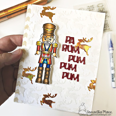 Pa Rum Pa Pum Pum Card by Samantha Mann for Newton's Nook Designs, Nutcrakcer, Christmas, Cards, Flock, Foil, Handmade Cards #newtonsnook #christmas #cards #nutcrakcer #flock #foil