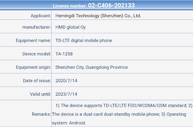 Nokia TA-1258 passes TENAA