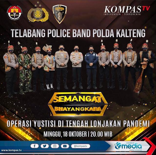 Meriahkan Semangat Bhayangkara, Telabang Police Band Polda Kalteng Tampil di Kompas TV