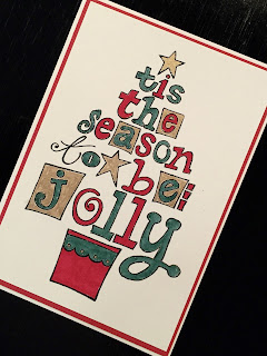 Jolly Tree hand made stamped Christmas card